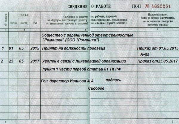 Увольнение в связи с банкротством предприятия статья тк рф